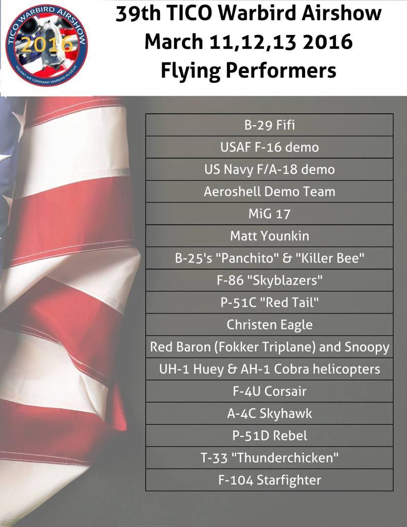 VAC 16 Airshow performers